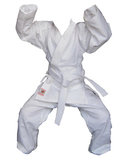 Beginners white karae style uniform 3 pc set. Excellent quality that fits well looks good and ill last years