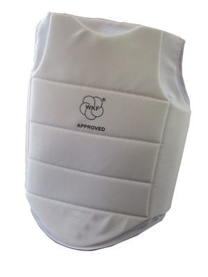 White WKF approved chestguard for children to ages 11 years approved ifor all local and internaional events