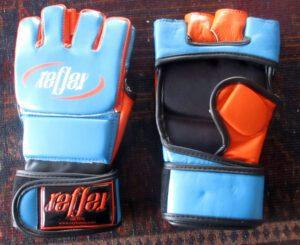 mma gloves fight grade leather fingerless velcro 4 oz