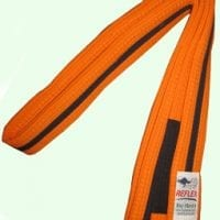Junior orange bjj belt for kids with black stipe and black sock