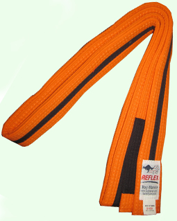 Junior orange bjj belt for kids with black stipe and black sock