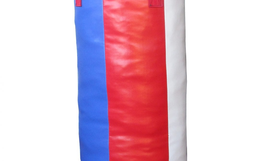 PUNCHING BAG 4 FOOT  123 cm long by 38 cm diameter  STRIPEY Range  Red white and blue
