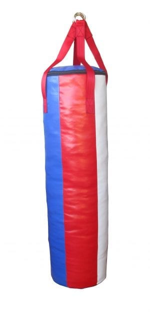 Red white and blue four foor punching bag