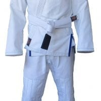 Light weight wight BJJ gi slim cut blue trim strong