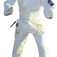 White bbj gi light weight earl weave smooth fabric